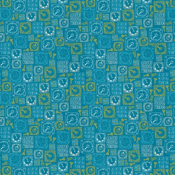 Teal Control Panel:  Take Flight by Vita Mechachonis for Camelot Fabrics