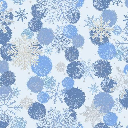 Blue Snowflakes w/Silver Metallic