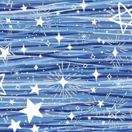 Blue Holiday Blue Stars w/Silver Metallic