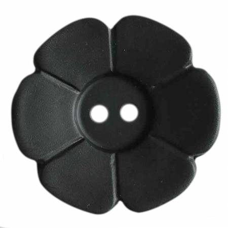 Black 1-1/8in 2 Hole Flower Button