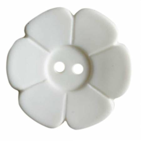 Pure White 1-1/8in 2 Hole Flower Button