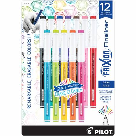 FRIXION FINELINER 12PK ASSORTED COLORS