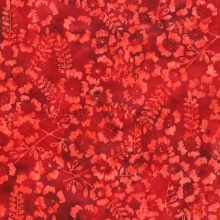 Batik Flowers and Stems Dark Red