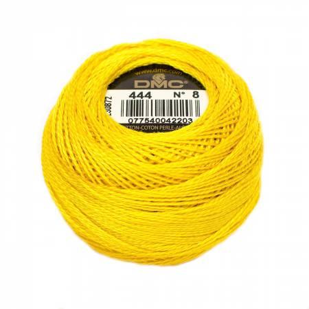 DMC Perle Cotton Size 8 444 Dark Lemon
