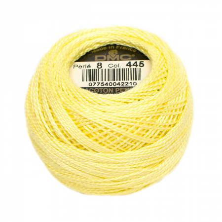 DMC Perle Cotton Balls Size 8 - 0445 Light Lemon