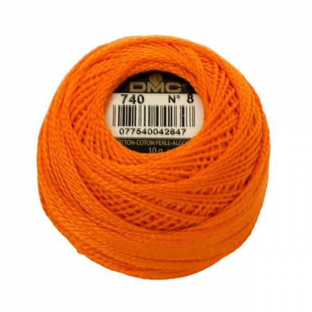 DMC Perle Cotton Balls Size 8 - 0740 Tangerine