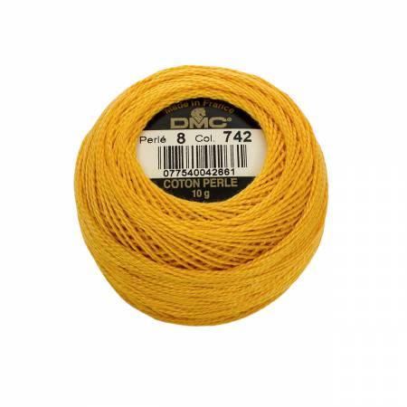 DMC Perle Cotton Size 8 742 Light Tangerine