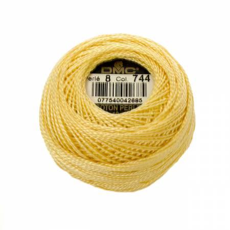 DMC Perle Cotton Size 8 744 Pale Yellow