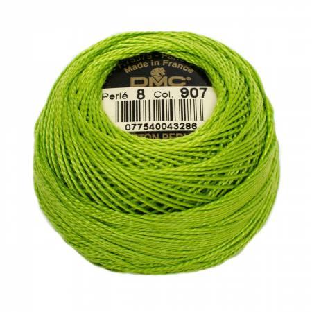 DMC Perle Cotton Size 8 907 Light Parrot Green