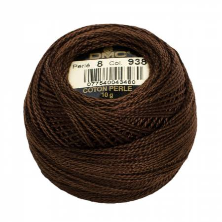 DMC Perle Cotton Size 8 938 Ultra Dark Coffee Brown