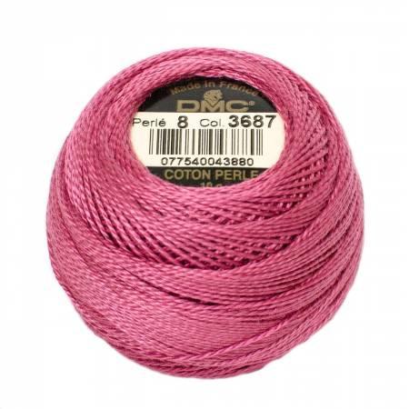 DMC Perle Cotton Balls Size 8 - 3687 Medium Cranberry