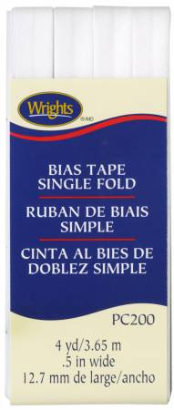 Single Fold Bias Tape White