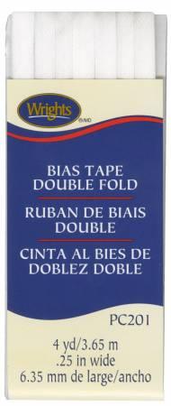 Double Fold Bias Tape White