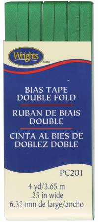 Wrights Double Fold Bias Tape Emerald - 1/4 wide by 4 yards