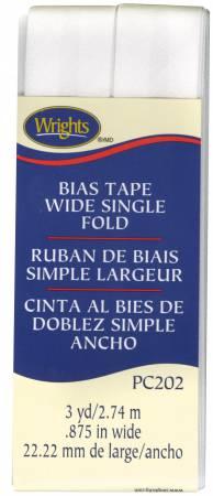 Wide Single Fold Bias Tape White