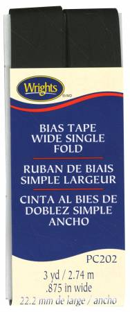 Wrights Wide Single Fold Bias Tape Black