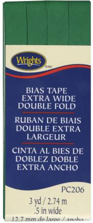 Extra Wide Double Fold Bias Tape Emerald 044