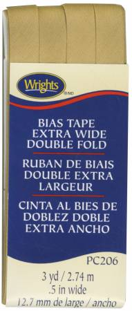 Extra Wide - Double Fold - Bias Tape - Tan - W206-073