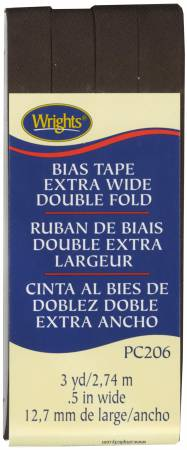 Extra Wide - Double Fold - Bias Tape - Seal Brown - W206-092