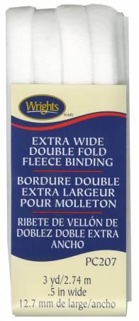 Extra Wide Double Fold Fleece Binding White