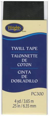 Twill Tape 1/4in Black