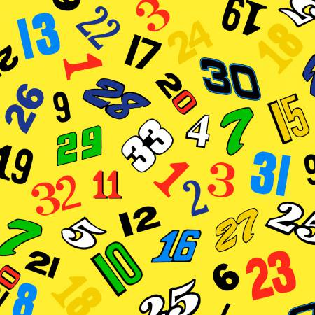 Numbers yellow