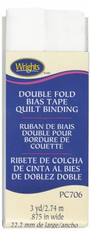 Double Fold Quilt Binding White