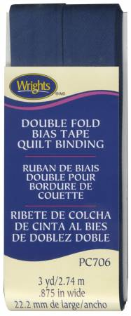 Double Fold Quilt Binding Navy Bias Tape