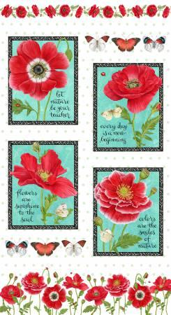 Poppy Perfection White Poppy Panel 24in