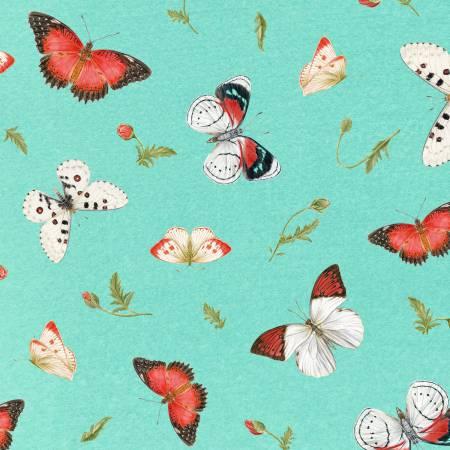 Aqua Tossed Butterflies