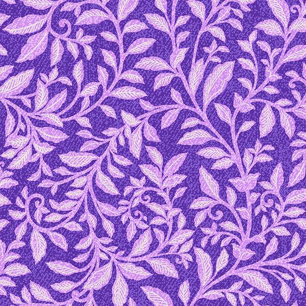 Piccadilly - Lilac Leaves with Silver Glitter on Purple