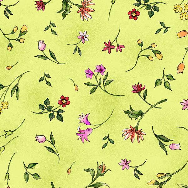 Green Floral Toss