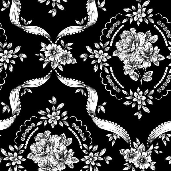 Black/White Floral Ribbon