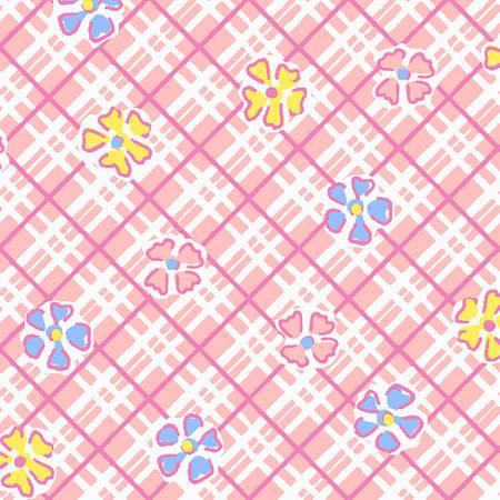 Vintage 30's Pink Flowers on Bias Plaid
