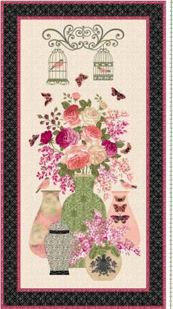 Multi Rose Vase Panel 24in x 44in