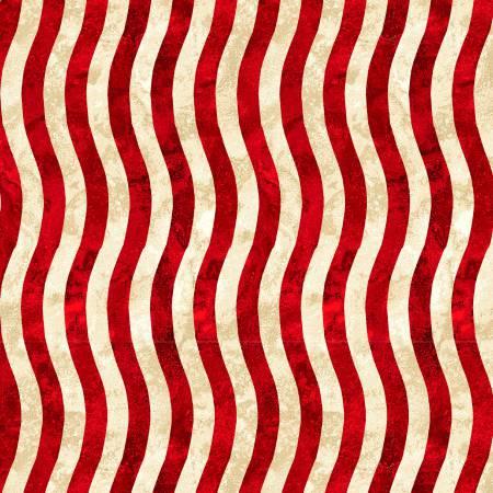 Red/Beige Wavy Stripe