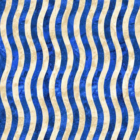 Blue/Beige Wavy Stripe
