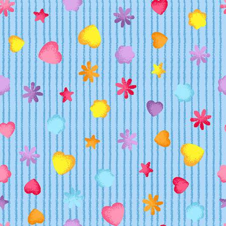 Light Blue Tiny Hearts on Stripe