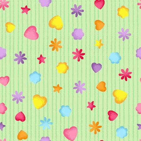 Light Green Tiny Hearts on Stripe