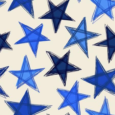 Blue/Beige Large Stars
