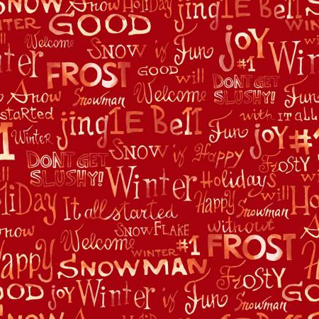 120 13912 Snow Family Christmas Words for Paintbrush Studio. 100% cotton 43 wide