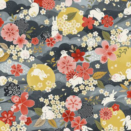 Moon Rabbit - Grey Floral