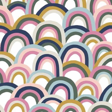 Over The Rainbow White/Pink/Navy Rainbows