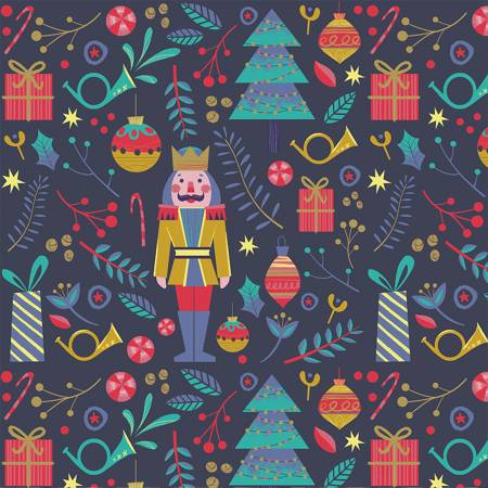 Night of the Nutcracker - Christmas Toss on Dark Blue