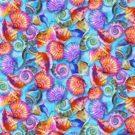 Fabulous Flamingos multi color shells on blue