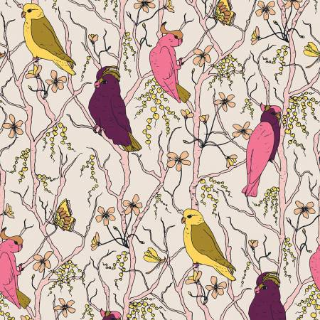 120 209303 Cockatoos, Peaches & Pears for Paintbrush Studio. 100% cotton 43 wide
