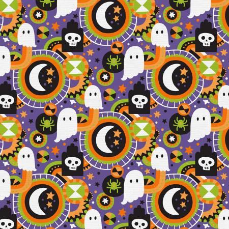Halloween Graveyard Cotton - Purple