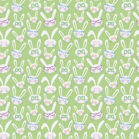 Bunnies with Glasses Green Easter