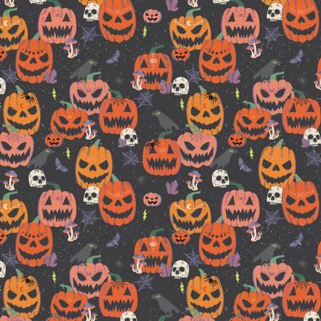 Mystical Halloween Scary Pumpkins Black