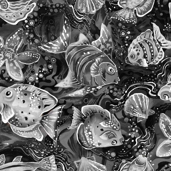 Coral Sea 120-7912 Black/Grey Fish